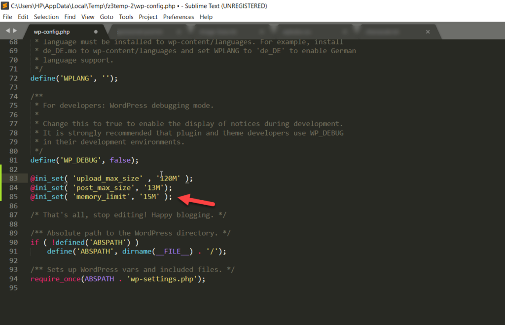 paste code in wp config file